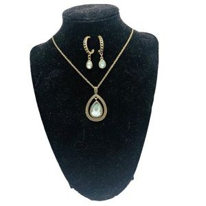 Pendant necklace and earring set stamped NRT